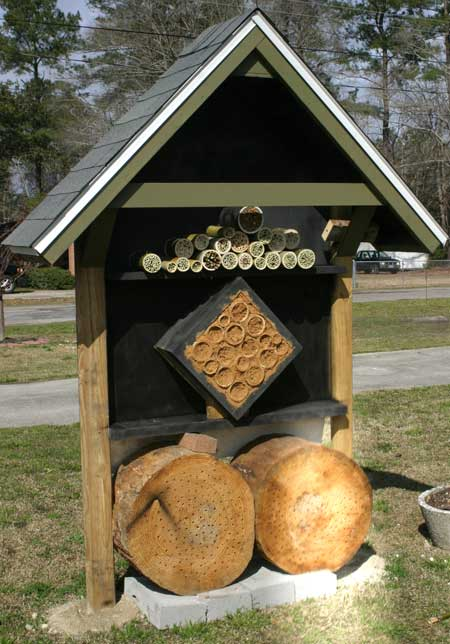 Completed wild bee house